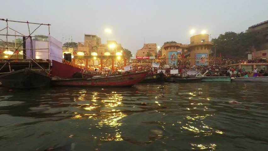 Varanasi Ghats, Diwali Festival, Ganges River and Boats, Uttar Pradesh, India, Real Time, 4k