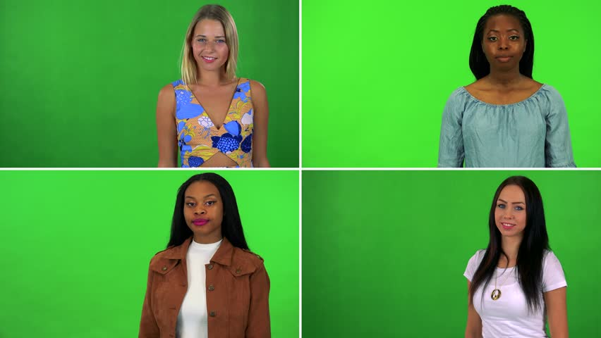 4K compilation (montage) - four women wave and smile at the camera - green screen