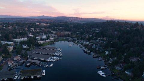 Lake Washington Bellevue Meydenbauer Bay Harbor Mt Rainier Issaquah Renton Aerial Drone View Background