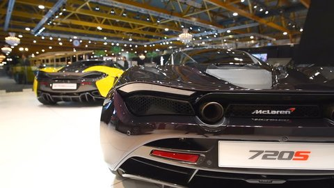 BRUSSELS, BELGIUM - JANUARY 10, 2018: McLaren 570s Spider and Mclaren 720s exclusive British sports cars on display at the 2018 European motor show in Brussels.