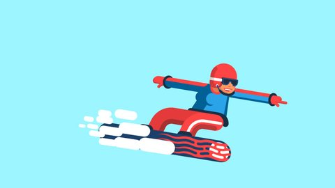 Girl snowboarder in bright outfit movement. Looped animation with alpha channel. In fact, there is no blue background in the video - you can impose it on any background.