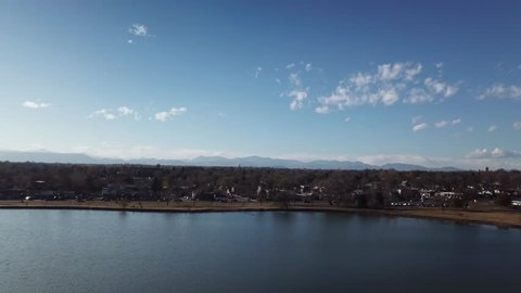 Directly over Sloan's Lake fly towards mountains