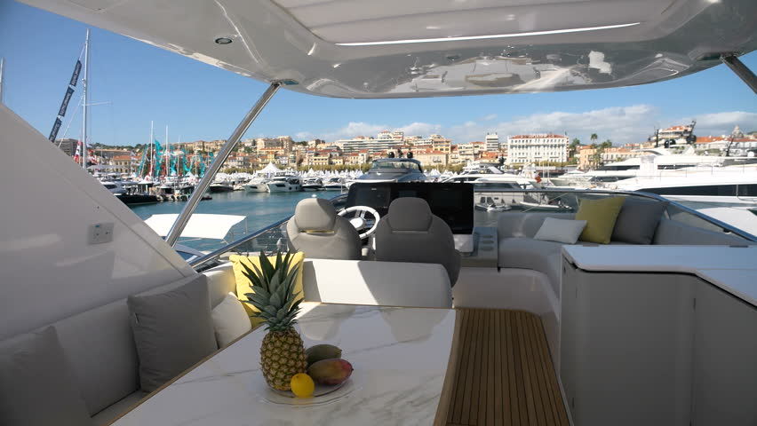 GENOA, ITALY – SEPTEMBER 22: Upper deck of a luxury yacht exhibited at the Genoa Boat Show, the most important Italian exposition of boats on September 22, 2017 in Genoa, Italy #1007296015
