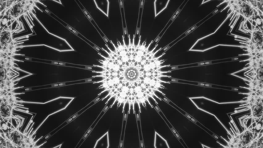 Kaleidoscopes background with animated glowing neon colorful lines and geometric shapes for music videos, VJ, DJ, stage, LED screens, show, events, christmas videos, festivals, night clubs.