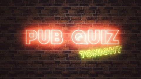 Pub Quiz neon sign mounted on brick wall, 3d animation with simple camera movement