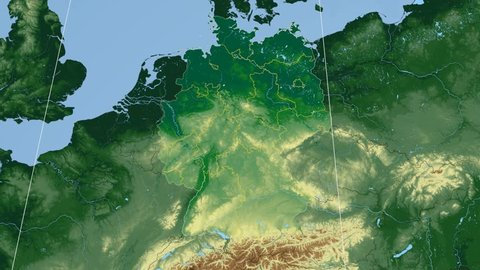 Sachsen state extruded on the physical map of Germany. Rivers and lakes shapes added. Colored elevation data used. Elements of this image furnished by NASA.