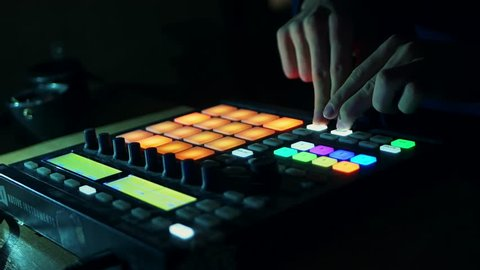 drum machine in the night club playing live set