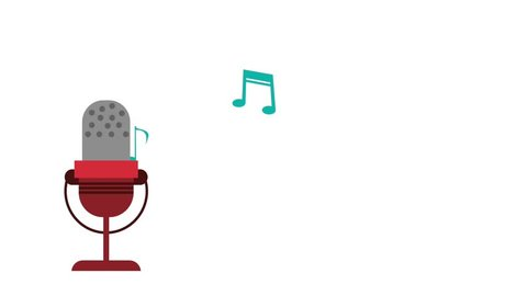 microphone with outcoming music notes icons