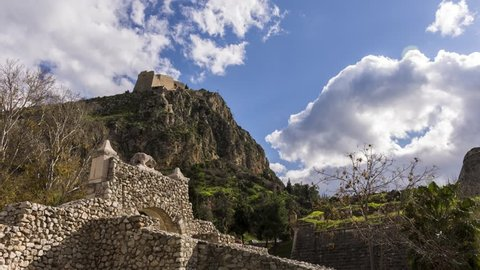 4K Timelapse of the fortress of Palamidi in Nafplio city former capital of Greece, Argolida, Peloponnese