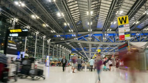 Bangkok, Thailand - Jan 25, 2018: Time Lapse of people and tourist in Suvarnabhumi Airport terminal building. Suvarnabhumi Airport also known as Bangkok Airport is the biggest airport in Thailand.