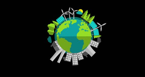 Pollution vs Sustainable Green Energy on Planet Earth 4k Flat Vector Animation Video with Alpha Channel