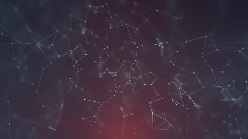 Abstract network lines and dots movement on dark blue red background. Selective focus used.  | Shutterstock HD Video #1007484550
