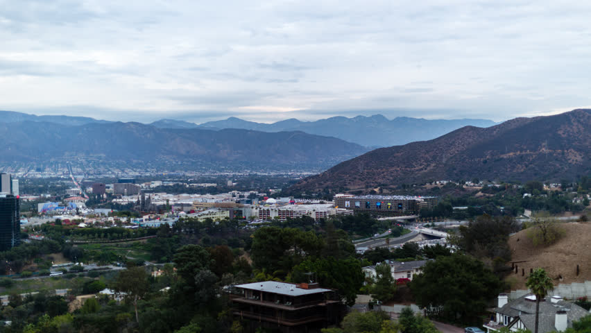 Panning time lapse of san fernando valley in los angeles at dusk | Shutterstock HD Video #1007500786