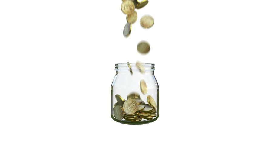 Coins fill a glass jar | Shutterstock HD Video #1007510635