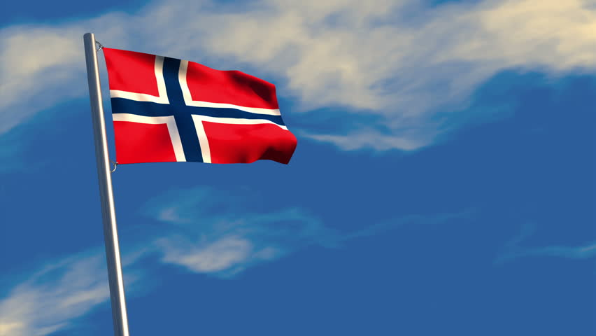 3D animation of a Norwegian flag waving on a flagpole, bright blue animated sky and motion blur for dramatic effect.