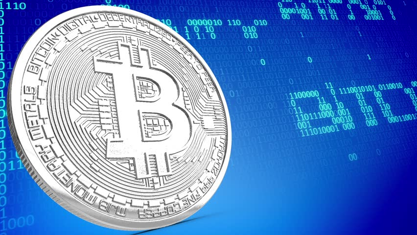 Platinum Bitcoin Coin rotating Loop Perspective Digital Money Binary Numbers 3D Renderings Animations   Shutterstock HD Video #1007583583