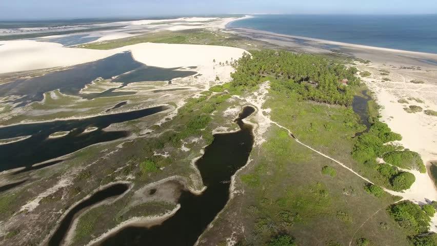 Aerial view of dunes and lakes of Jericoacoara National Park, Jijoca de Jericoacoara, Ceará, Brazil Northeast Coast.