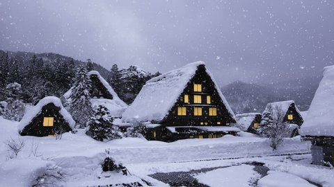 Historic Villages of Shirakawa-go and Gokayama, Japan in winter. Traditional style huts in Gassho-zukuri Village, Shirakawago, World Heritage Site.