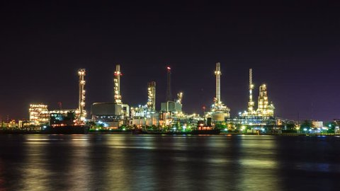 4K. Time Lapse sunrise at Oil refinery in Bangkok Thailand. Footage Video Ultra HD, 4096 x 2304