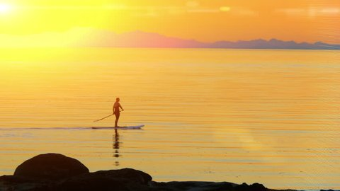 Stand Up Paddle Board Woman Silhouette on Water, Slow Motion Sunset Sea Sport