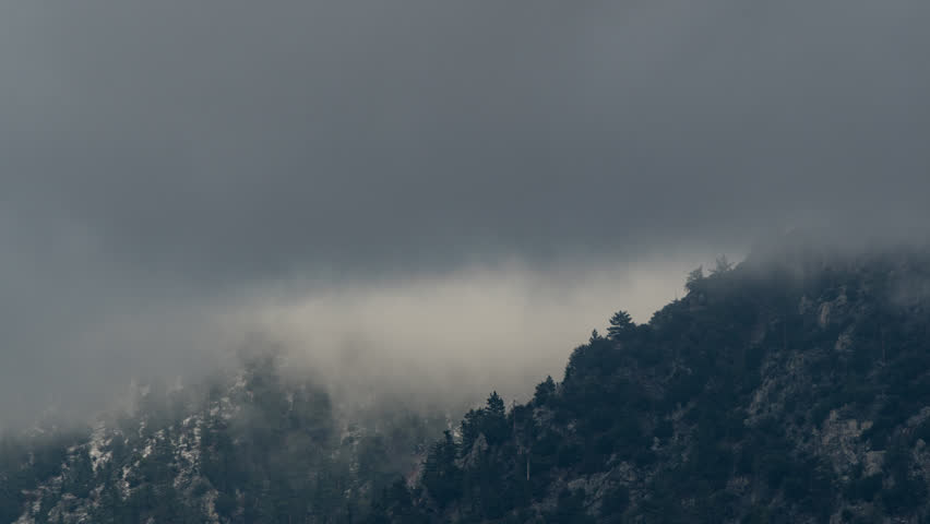 Time Lapse 4k Mountain Mist over snow pine trees- clouds and mist roll in. captured from a 6K source 4444 colorspace