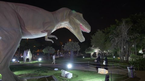 Dubai, UAE - January 13, 2018: moving figure predatory Carnotaurus dinosaur