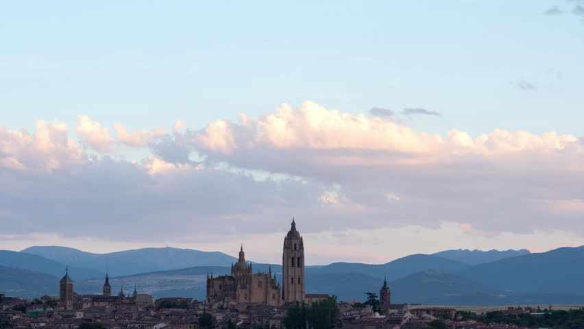 Panoramic timelapse of Segovia skyline with the Cathedral of Santa Mara de Segovia in sunset time, Castilla Leon, Spain