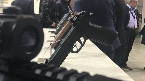 VICENZA - FEB 10, 2012: Guns show stands during Weapon and Security Expo HIT SHOW on Febbruary 10, 2018 in VIcenza, Italy