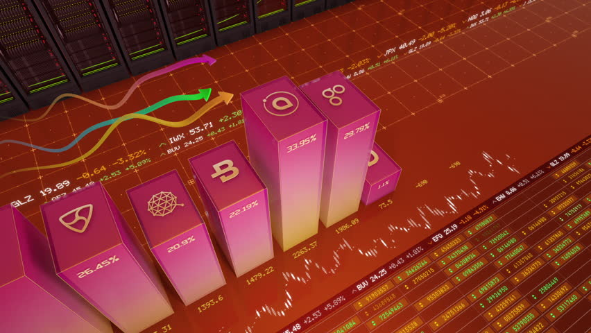 High angle shot of major crypto currencies (Bitcoin, Ethereum, NEO, Litecoin, Ripple, etc.) related business charts changing their value in stock exchange | Shutterstock HD Video #1007628859