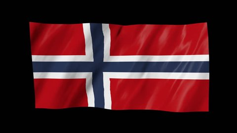The Norwegian flag, flag in 3d, waving in the wind, on black background.