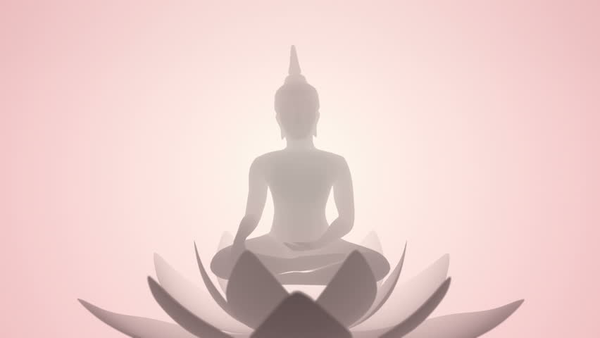 Animation flying of Buddha statue with waving flower of lotus. Animation of seamless loop. | Shutterstock HD Video #1007646475
