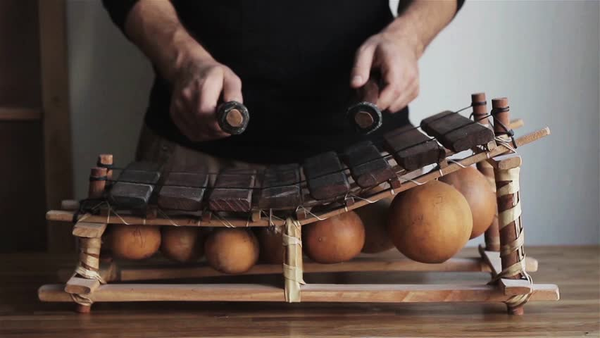 male hands playing balafon ethnic musical instrument motion front view close up. Man holding sticks for marimba African traditional music wooden design indoors. Multicultural globalism world art.