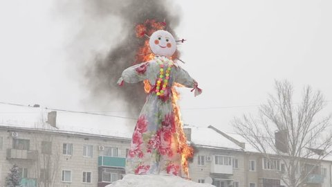 The burning Maslenitsa effigy. Pancake week. Maslenitsa is an Eastern Slavic traditional holiday, celebrated during the week before the Great Lent.