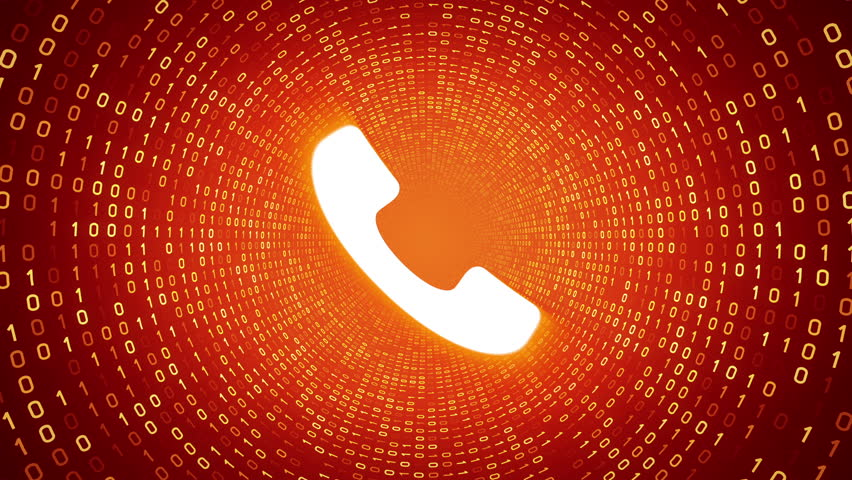 White ringing phone icon form yellow binary tunnel on orange background. Seamless loop.  | Shutterstock HD Video #1007675653
