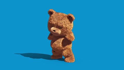 Teddy Bear Real Fur Attack Combat Blue Screen Front 3D Renderings Animations