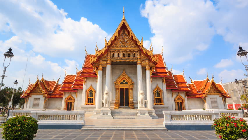 Wat Benchamabophit Temple Landmark Travel Place Of Bangkok, Thailand 4K Time Lapse (zoom out) | Shutterstock HD Video #1007679745