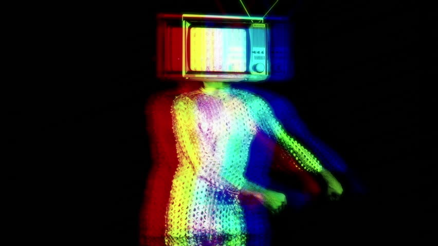 Mr tv headcool man dancing with a television as a head. the tv is has video static and noise playing on it. | Shutterstock HD Video #1007692705