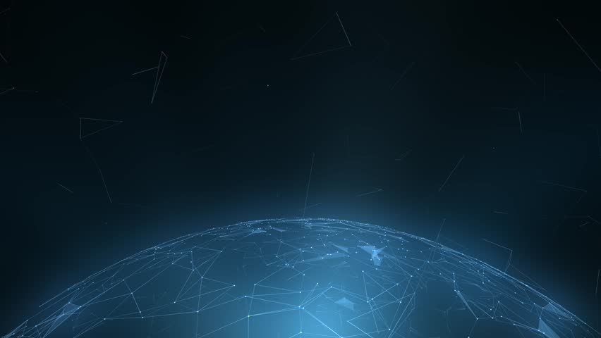 Rotation of network sphere with view from space and glow of light. Glow rotating with moving lines, dots and triangles.  | Shutterstock HD Video #1007700985
