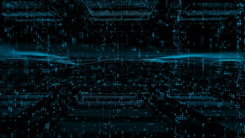 Digital matrix particles and grid motion abstract background