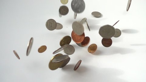 Coins in falling  slow motion