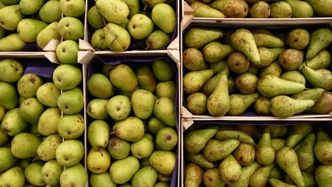 Green pears in a box, on the counter of a market.