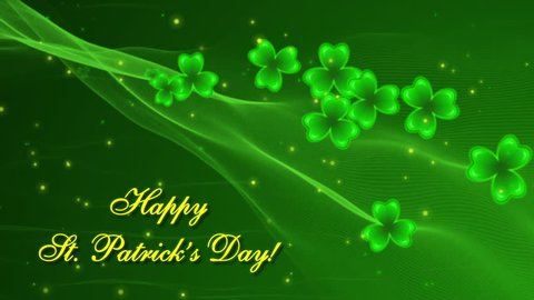 Happy St. Patrick's Day with a shamrocks on the green background