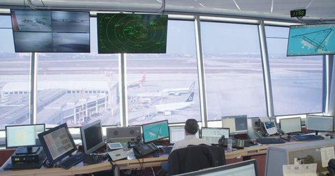Tel Aviv, Israel - January 2018. Air traffic controllers in the control tower
