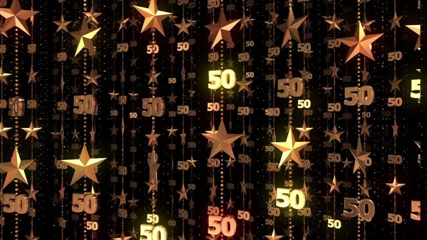 50th Anniversary Gold Stars 50 Fifty Birthday Background Animation Loop Celebration