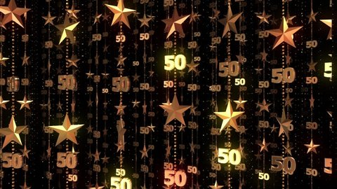 50th Anniversary Gold Stars 50 Fifty Birthday Background Animation Loop Celebration