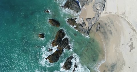 Aerial views of Cerritos beach in Todos Santos, Mexico, Baja California Sur.