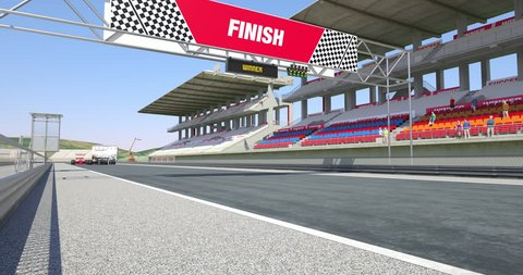 Cars Crossing Finish Line On Racing Track - High Quality 4K 3D Animation With Environment