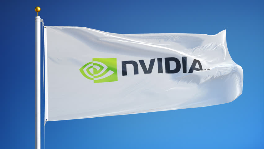 Nvidia company flag waving in slow motion against blue sky, editorial animation, seamlessly looped, close up, isolated on alpha channel with black and white matte.