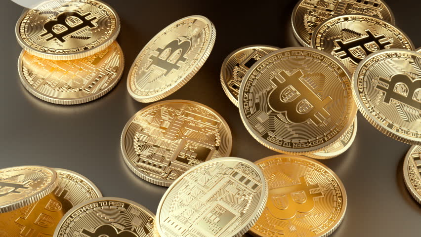 Falling down the gold bitcoins.Finance cryptocurrency concept. | Shutterstock HD Video #1007935915