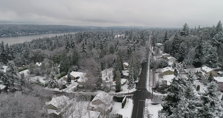 Bellevue Newcastle Mercer Island Lake Washington Aerial Above Winter Snow Covered Landscape